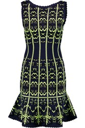 Herve Leger Crochet Knit Mini Dress Midnight Blue