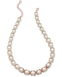 Charter Club Rose Gold Tone Imitation Crystal And Pave Collar Necklace Only At Macy's