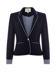 Yumi Ponte Blazer With White Piping Trim Navy