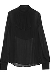 Karl Lagerfeld Georgine Ruffled Georgette Top Black