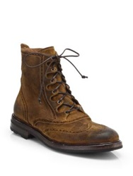 Ralph Lauren Mundesley Distressed Leather Lace Up Boots Dark Brown