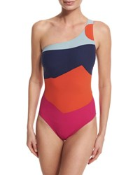 Tory Burch Marguerite Colorblock One Shoulder Swimsuit Celestine Journey