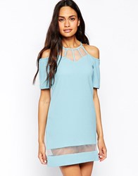 Jovonna Dress With Strap Detail And Mesh Inserts Blue