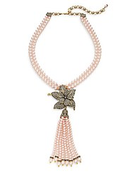 Heidi Daus Quite Contrary Faux Pearl And Swarovski Crystal Lariat Necklace Pink