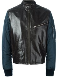 Dolce And Gabbana Leather Panel Bomber Jacket Black