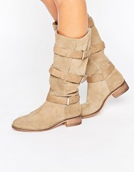 Asos Canterbury Suede Knee High Boots Sand Beige