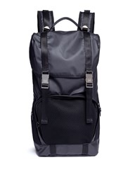 Utc00 'Bkp01' Mesh Pocket Military Canvas Backpack Black