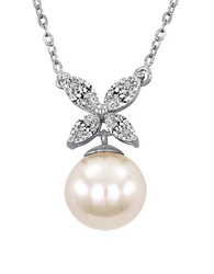 Majorica 8Mm White Pearl Cubic Zirconia And Sterling Silver Butterfly Necklace
