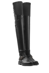 Fendi Thigh High Leather Boots Black