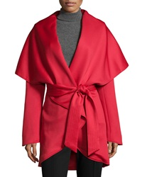 Raison D'etre Belted High Low Wrap Jacket Red