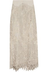 Donna Karan New York Stretch Jersey Macrame Lace And Tulle Maxi Skirt Beige