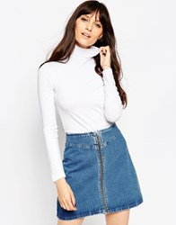 Asos The Polo Neck With Long Sleeves White