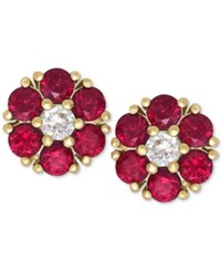 Macy's Ruby 1 1 5 Ct. T.W. And White Sapphire 1 6 Ct. T.W. Flower Stud Earrings In 14K Gold Yellow Gold