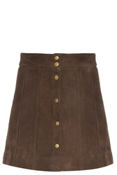 Frame Denim Suede Button Up Skirt Brown