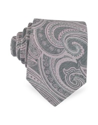 Forzieri Light Pink And Gray Paisley Print Woven Silk Tie
