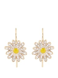 Alison Lou Diamond Enamel And Yellow Gold Daisy Earrings Yellow Gold