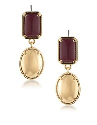 1St And Gorgeous Garnet Gold Cabochon Double Drop Earrings
