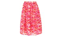 Whistles Watercolour Silk Organza Skirt Pink Multi