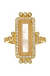 Freida Rothman 14K Gold Plated Sterling Silver Cz And Rose Quartz Bar Ring Size 9 Metallic