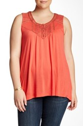 Bobeau Embroidered Scoop Neck Tank Plus Size Pink