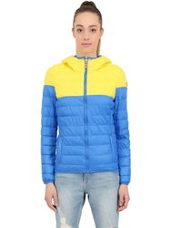 Invicta Quilted Nylon Puffer Jacket Blue Yellow