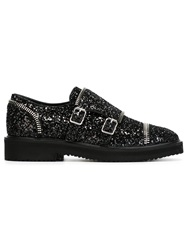 Giuseppe Zanotti Design Glitter Monk Strap Shoes Black