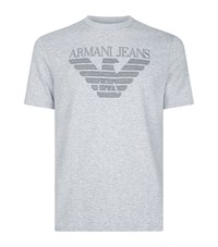 Armani Jeans Embroidered Logo T Shirt Male Grey
