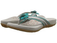 Aetrex Selena Thong Sandal Turquoise Women's Toe Open Shoes Blue