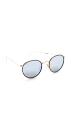 Ray Ban Mirrored Round Foldable Icon Sunglasses Blue