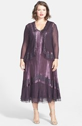 Plus Size Women's Komarov Lace Inset Charmeuse And Chiffon Dress With Jacket Midnight Crocus