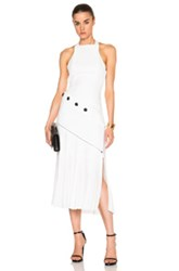 Thierry Mugler Mugler Bonded Crepe And Pleats Gown In White