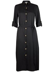 Closet Long Belted Slit Shirt Dress Black