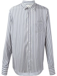 Faith Connexion Pinstriped Button Down Shirt Blue