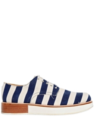 Mobi 30Mm Canvas Striped Lace Up Shoes Navy White