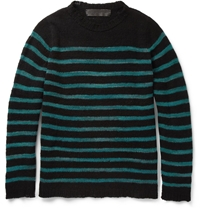 The Elder Statesman Picasso Striped Open Knit Cashmere Sweater Black