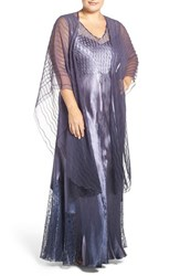 Komarov Plus Size Women's Lace Up Back Charmeuse Gown With Chiffon Shawl