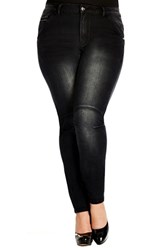 Plus Size Women's City Chic 'Tough Girl' Stretch Skinny Jeans Black