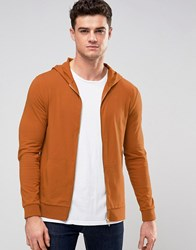 Asos Muscle Zip Up Hoodie In Burnt Orange Volcano Brown