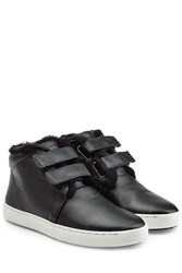 Rag And Bone Leather Sneakers With Fur Black