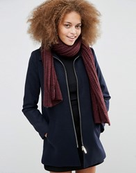 Warehouse Cable Knit Scarf Berry Red