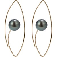 Hirotaka Women's Tahitian Pearl And Gold Floating Oval Earrings No Color