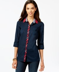 Tommy Hilfiger Plaid Trim Button Down Top Masters Navy