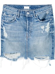 Mother Distressed Denim Mini Skirt Blue