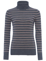 French Connection Babysoft Striped Turtleneck Jumper Grey Melange Blush