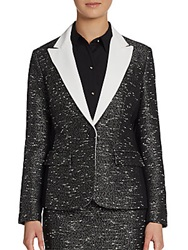 Ivanka Trump Tweed Blazer Black Ivory