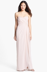 Dessy Collection Draped Chiffon Gown Cameo