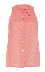 Christine Alcalay Solid Cotton Tie Neck Oxford Tank Coral