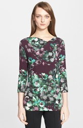 St. John Floral Print Jersey Tee Mulberry Multi