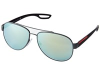 Prada Linea Rossa Ps 55Qs Grey Rubber Emerald Iridium Fashion Sunglasses Green