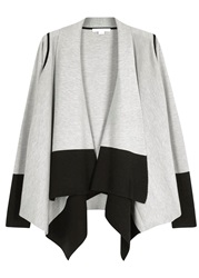 Duffy Two Tone Wool And Cashmere Blend Cardigan Grey